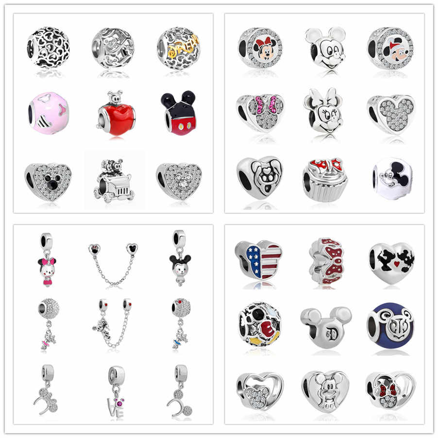 1pc european mickey minnie diy bead fit Original Pandora charms  Bracelet trinket jewelry for women S006