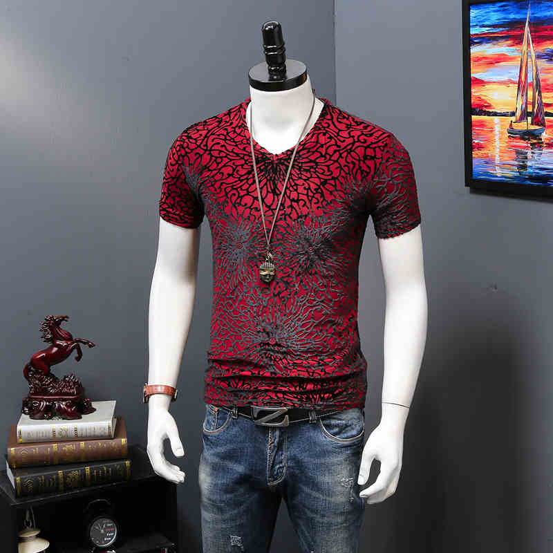 De calidad superior de terciopelo con cuello en V camisetas para - Ropa de hombre