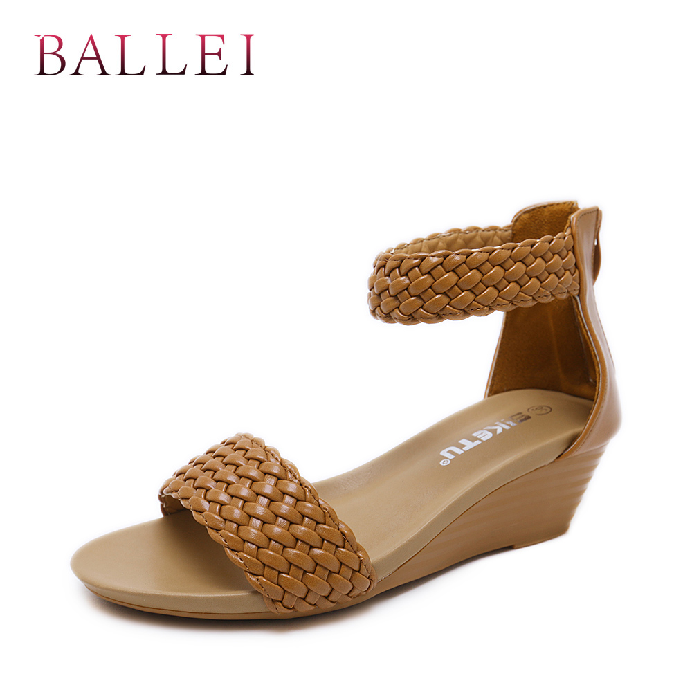 apricot Calidad Vintage S39 Black Zapatos Retro Cubierta Étnica Mano Mujer Tacón Moda Verano Hecho Sandalias Balle Cremallera De Suave brown A Pu Clásicos 614xqSSw