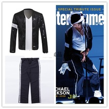 Michael Jackson Cosplay Kostum Billie Jean Sut Sequin Kids Adults MJ Jacket + Pants Show Black Color