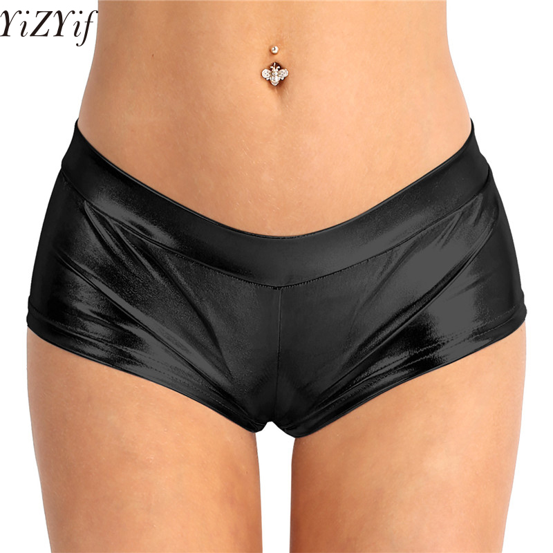 YiZYiF Faux Leather   Shorts   Women Metallic Booty   Shorts  , Fashion Shiny Bottoms for Dancing, Raves, Festivals, Costumes