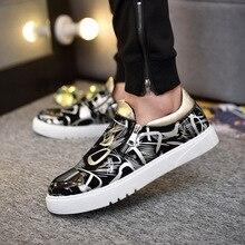 цена 2019 Fashion Shoes Men Summer Zipper PU Leather Casual Shoes Breathable New Striped Loafers Zapatos De Hombre Black Size 39-44 онлайн в 2017 году