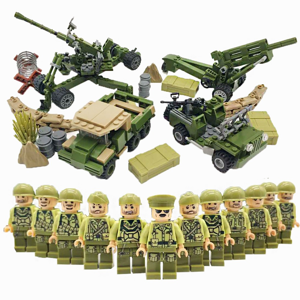 12PCS WW2 Military Soldiers with Weapons Guns Bricks Model US Army Mini Action Figures Building Blocks Kids Toys LegoINGlys
