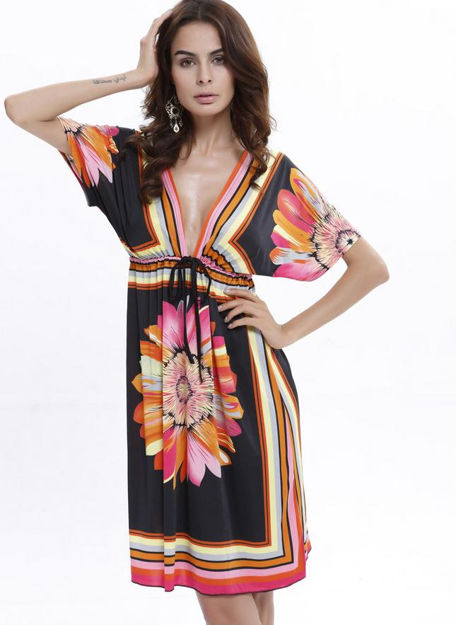 Lady New Bohemian Summer Style Damer Kortærmet Deep V-hals Afslappet - Dametøj - Foto 2