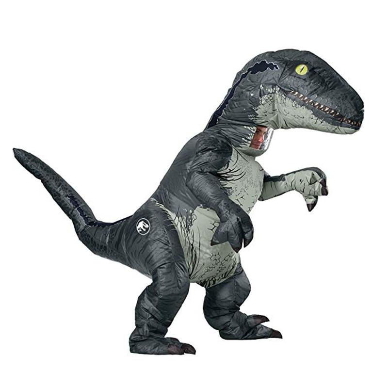 Home Energetic Jurassic World Park Hot Adult Inflatable Velociraptor Costume Halloween Dinosaur T Rex Costume For Men Fancy Dress Cosplay Suits Online Shop