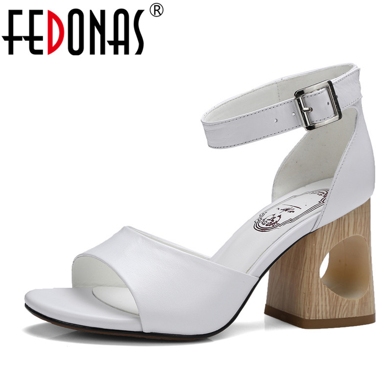 FEDONAS Women Sandals Soft Genuine Leather Gladiator Sandals Hollow High Heels Summer Wedding Party Shoes Woman Female Sandals fedonas new women gladiator sandals wedges high heel fashion ladies glitters wedding party shoes woman platforms summer sandals