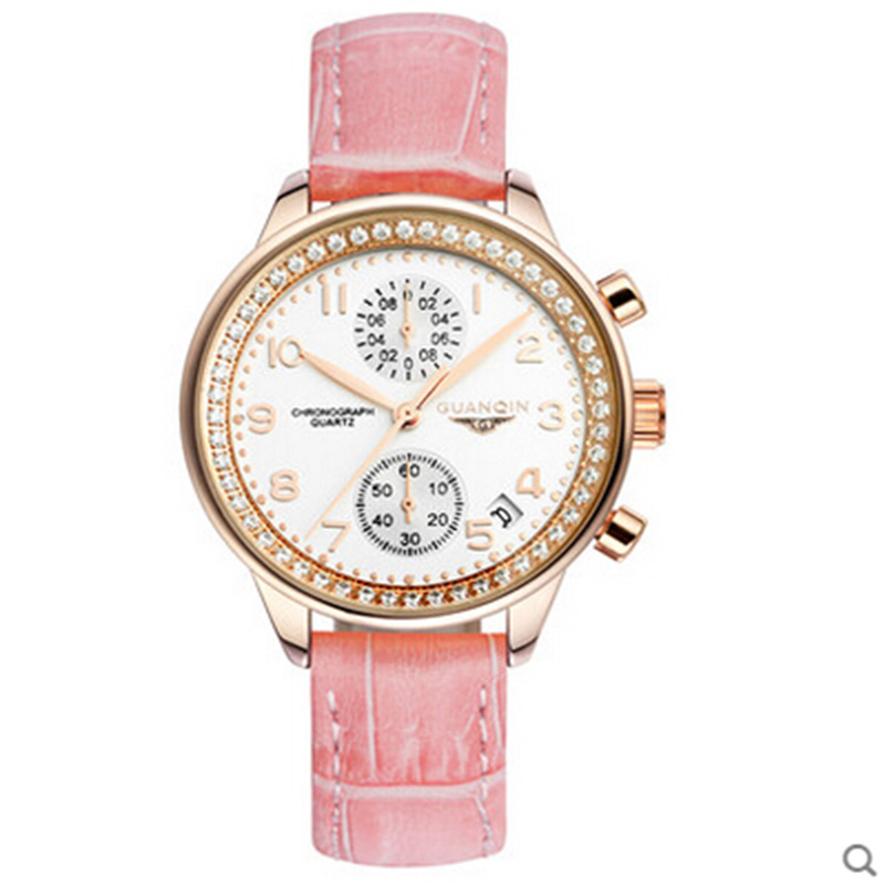 GUANQIN brand Watch for women fashion vintage wristwatch leather dress watch lady quartz watch women rhinestone watches sinobi fashion vintage style women casual watch dress rhinestone leather strap watches lady wristwatch clock with roman numerals