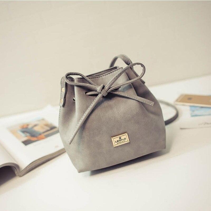 sacolas de mulheres 2017 nova Fashion Element : Bow, drawstring, bucket Shape, solid