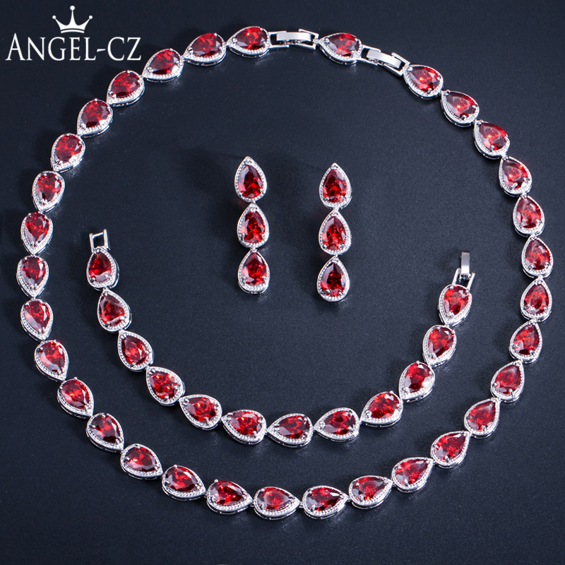 ANGELCZ Brand Choker Inlay Shining Red Crystal White Gold Color Ladies Necklace Sets For Beautiful Girls Prom Jewelry Set AJ055