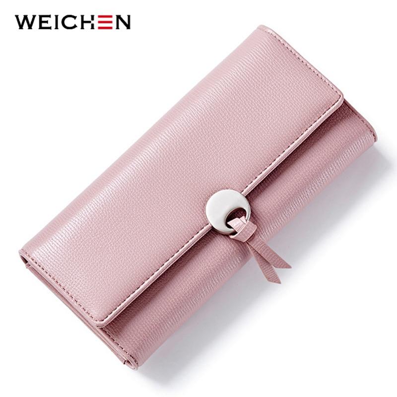 Weichhen幾何学的な女性クラッチ財布革ロング掛け金大容量カードホルダーポケット女性財布ファッションレディース財布
