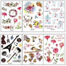 6pcs/lot Book Series Temporary Tattoos Arm/back/body Paint Tattoo Sticker Bird Cage Wreath Flowers Letter Tatto Tatuagem 314
