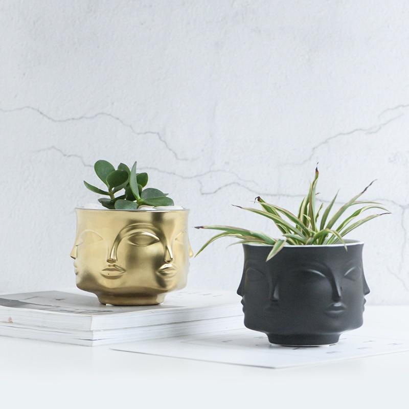 Creative Three dimensional Human Face Ceramic Vase White Nordic Ceramic Small Decorative Vase Flower Pot Home Decoration