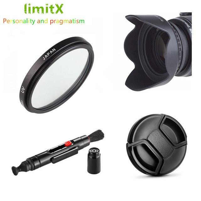55mm UV Filtre Lens Hood + Lens Kapağı + Temizleme Kalem Sony Alpha A58 A35 A37 A55 a56 A57 A65 A68 A33 ile 18 55mm Lensler