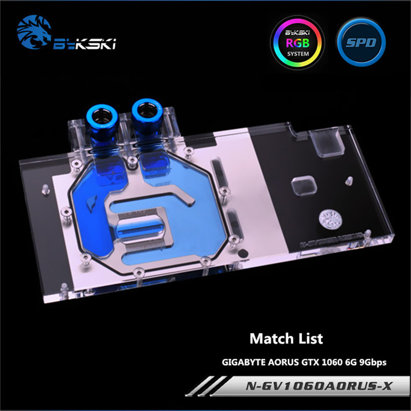 Bykski Full Coverage GPU Water Block For GIGABYTE AORUS GTX 1060 6G 9Gbps Graphics Card N-GV1060AORUS-X computador cooling fan replacement for msi twin frozr ii r7770 hd 7770 n460 n560 gtx graphics video card fans pld08010s12hh