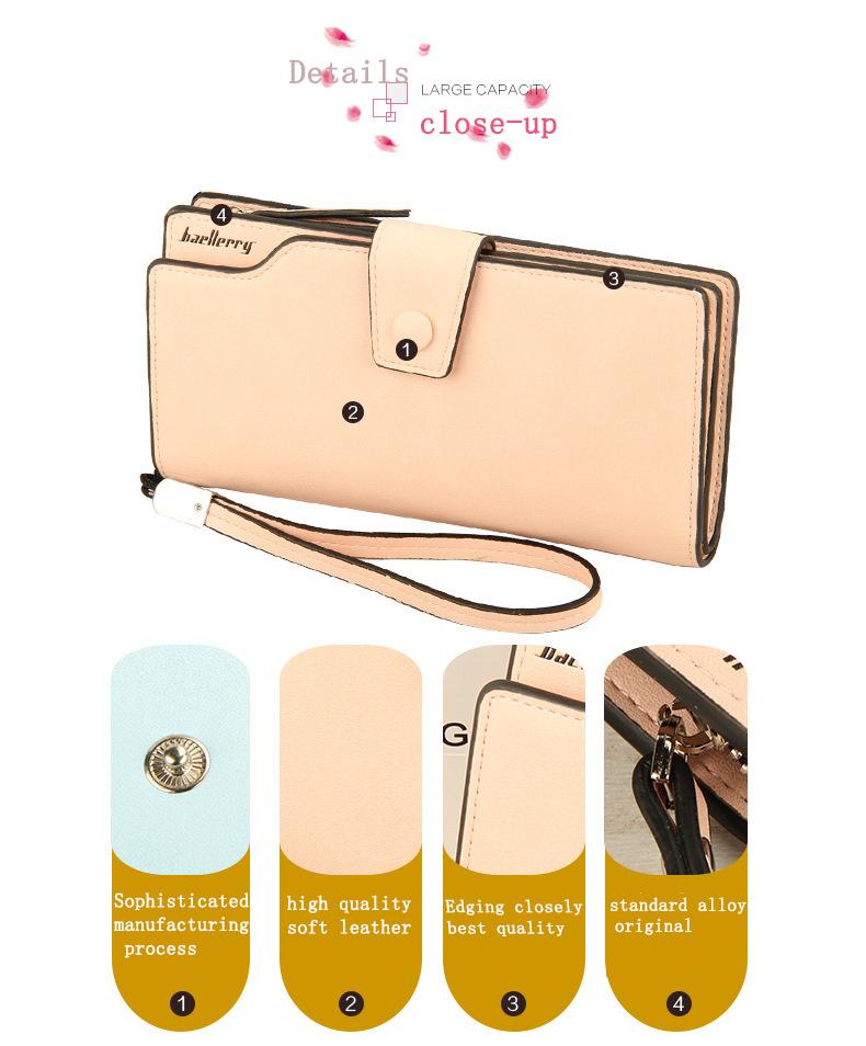 2018 New Wallet Split Leather Wallets Female Long Wallet Women Zipper Purse Money Bag pink one size 7