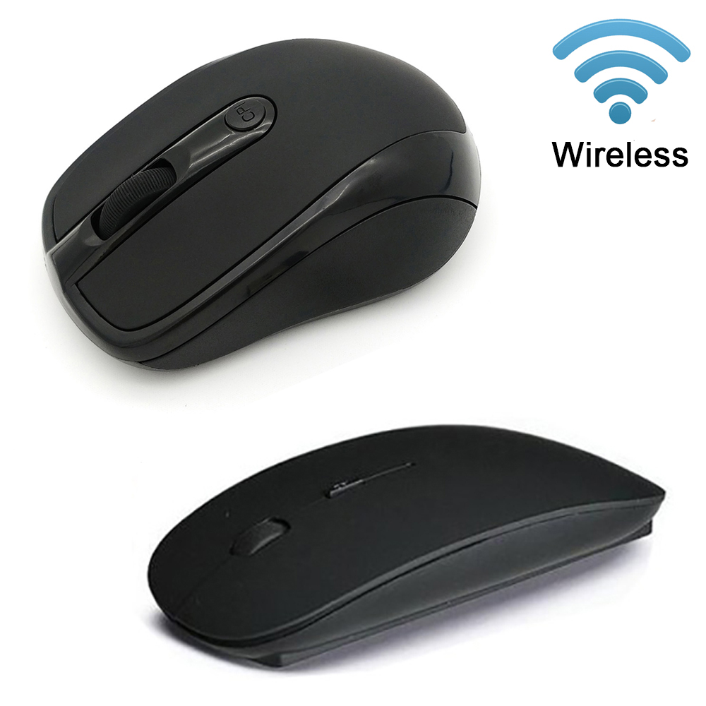Ultra Thin USB Optical Wireless Mouse 2.4G 1600/2000 DPI Receiver Super Slim Mouse Cordless Computer PC Laptop Desktop