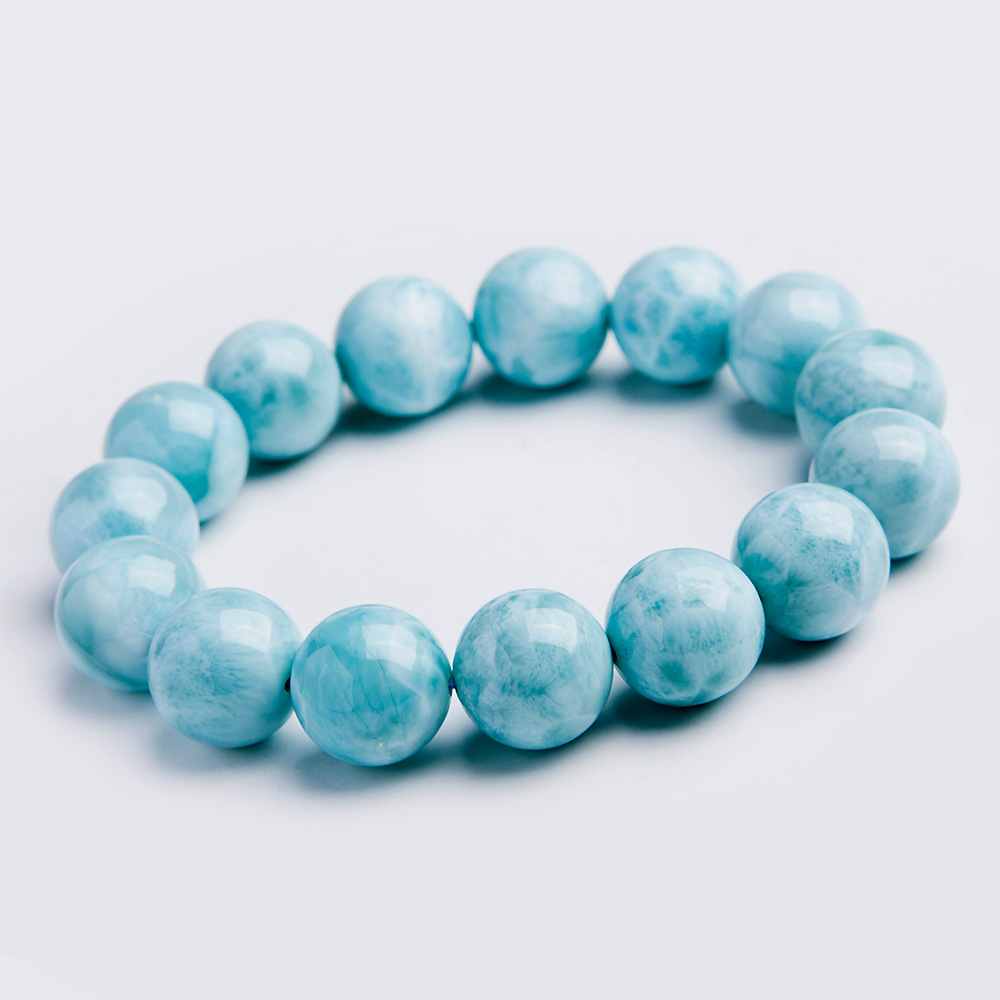 Fashion 100 14mm Natural Blue Larimar Bracelet Gemstone 14mm Round Beads From Dominica Stretch Wedding Gift