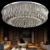 LAIMAIK Remote Controlled European Led Crystal Ceiling Lights For Living Room Round Cristal Ceiling Lamps For