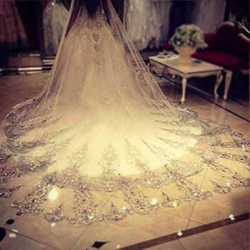 73420fc72d 4 metros de marfil blanco 2018 velos de novia de encaje Borde de Bling  Seuqins Catedral boda velo largo Veu de novia accesorios de la boda