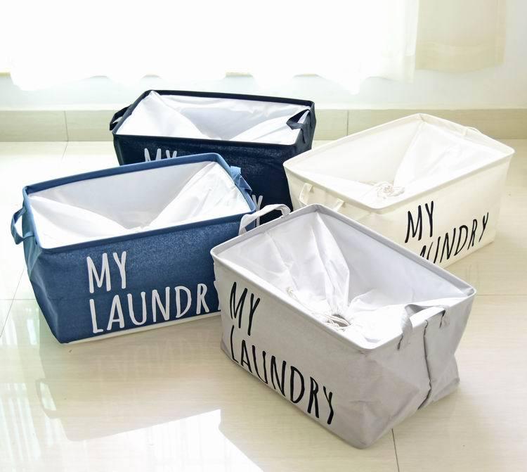 New Laundry Basket Foldable Clothes Basket Cotton Waterproof Folding Eco-friendly Sundries Clothes Toy Storage Organization Box