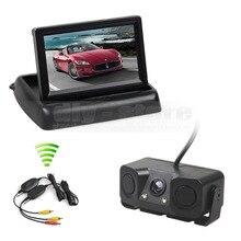 DIYKIT Wireless 4.3 Inch Car Reversing Camera Kit Back Up Car Monitor Parking Radar Sensor 2 in 1 Car Camera Parking System