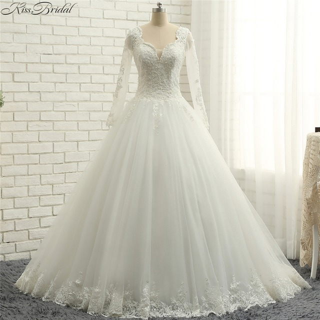 Long Sleeve V Neck Wedding Gown: Aliexpress.com : Buy Latest Style Long Sleeve Wedding