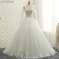 Latest Style Long Sleeve Wedding Dresses A line Style Lace Bridal Gowns V Neck Corset Back robe de