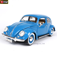 Bburago 1:18 1955 Volkswagen Beetle Simulation Alloy Retro Car Model Classic Car Model Car Decoration Men & Women Collection