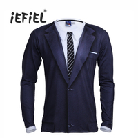 IEFiEL Mens Long Sleeve Crew Neck 3D Printed Tie Tuxedo Stretchy T Shirt Tops For Men