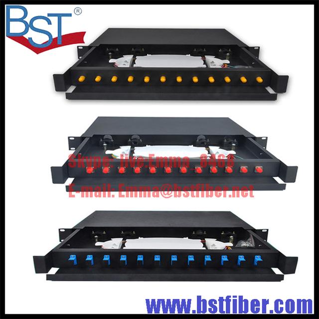 Completo com 19 polegada 12 núcleo de fibra óptica do tipo Gaveta caixa de terminais SC/FC/ST 12 portas tipo Puxar repartidor patch painel