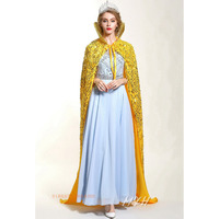 Handmade Sequin Cloak for Women Full Length 71 Europe Style Lace up Pageant Robe w/ Collar Medieval Cape Dress Up Costumes