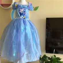 Beautiful blue kids cinderella dresses princess Christmas cosplay dress children clothing gift for girls wholesale