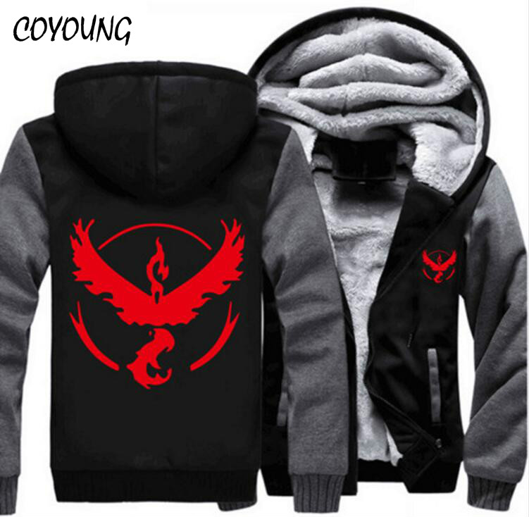 USA SIZE Men Hoodies Pokemon Go Team Valor Team Mystic Team Instinct Winter Fleece Sweatershirts Zipper Thicken Coat Jacket