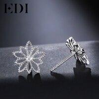 EDI Genuine Natural 0 06cttw Diamond Real 18k White Gold Stud Earrings For Women Wedding Fine