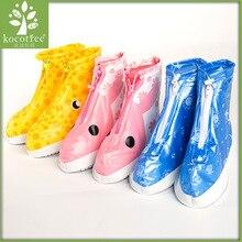 Kocotree Kids Waterproof Shoes Overshoes Galoshes Children Cartoon Zipper Non-slip Elastic Rain Shoes For Rain Boot