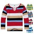 De alta Qualidade Da Marca Do Bebê Meninos Camisetas Primavera Outono Listrado crianças Roupa Dos Miúdos T Camisas de Manga Longa de Algodão Menino Topos Tees