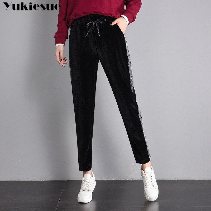 women's sports   pants   sweatpants loose harem   pants     capris   for women trousers pleuche velvet loose Plus size streetwear summer