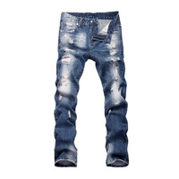 Night Club Blue Buttons Jeans Men Denim Blue Ripped Pants Trousers 29 40 High Quality Cotton