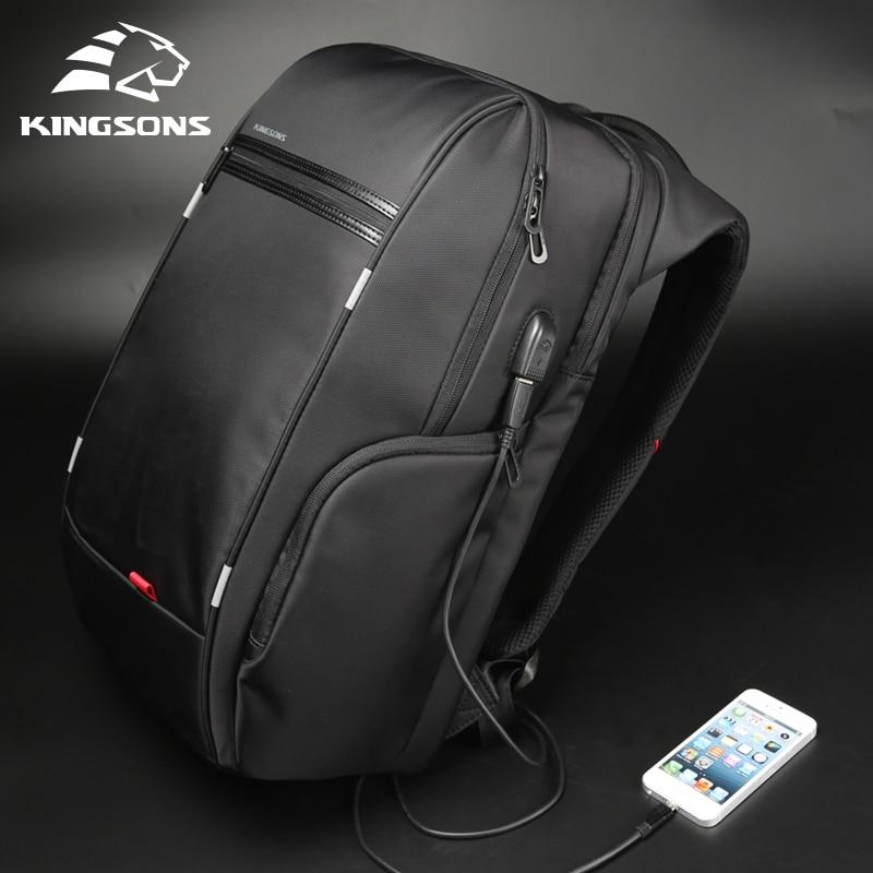 Kingsons 15 дюймов ноутбук рюкзаки зарядка через usb Anti Theft рюкзак для мужчин Путешествия водоотталкивающий школьные ранцы мужской Mochila