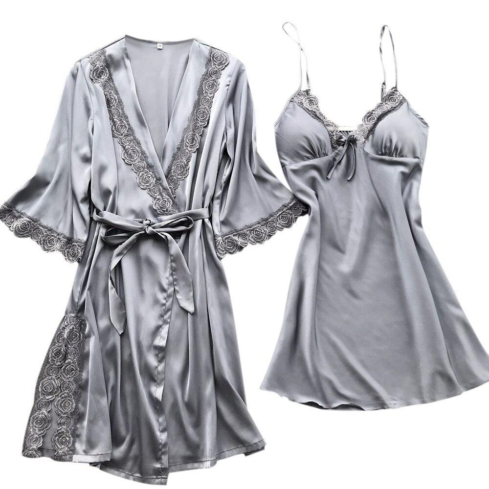 2 Pcs Pyjamas Sets Frauen Sexy Spitze Robe Pyjamas Frauen Mode Sexy Nachtwäsche Dessous Spitze Versuchung Gürtel Unterwäsche Nachthemd Klar Und Unverwechselbar