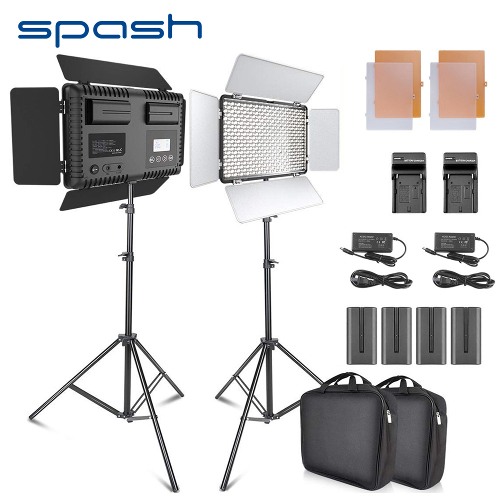 spash TL-600S 2pcs LED Video Light Studio Photo Photography Lighting Lamp led Panel Lamp with Tripod 3200K/5500K NP-F550 Battery spash tl 240s 1 set led video light with tripod stand cri 93 3200k 5600k studio photo lamp led light panel photographic lighting