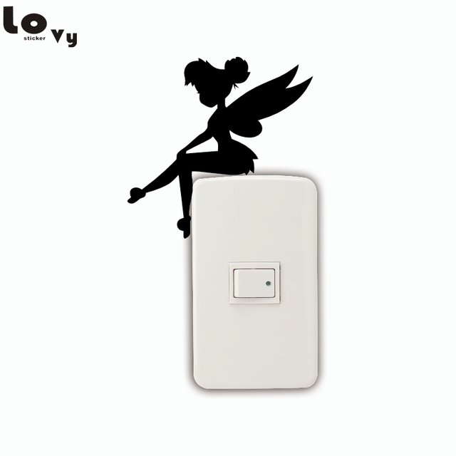 Cute Fairy Sitting Switch Sticker Cartoon Vinyl Wall Stickers for Kids Room Home Decor 001