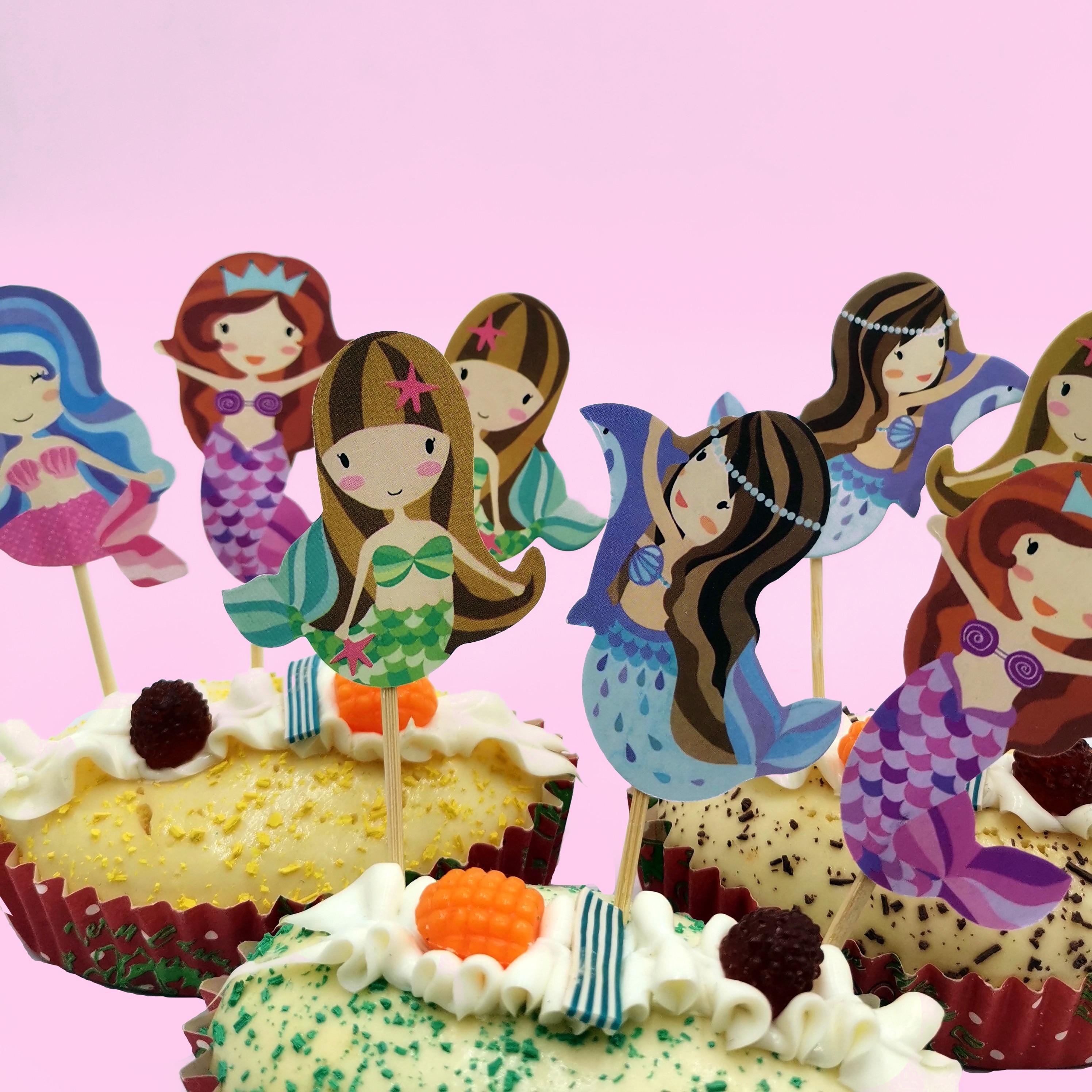 24pc Little Mermaid cake Toppers Kids Birthday Party supplies Baby Shower Kids Children Birthday Party Decorative Supplies in Cake Decorating Supplies from Home Garden