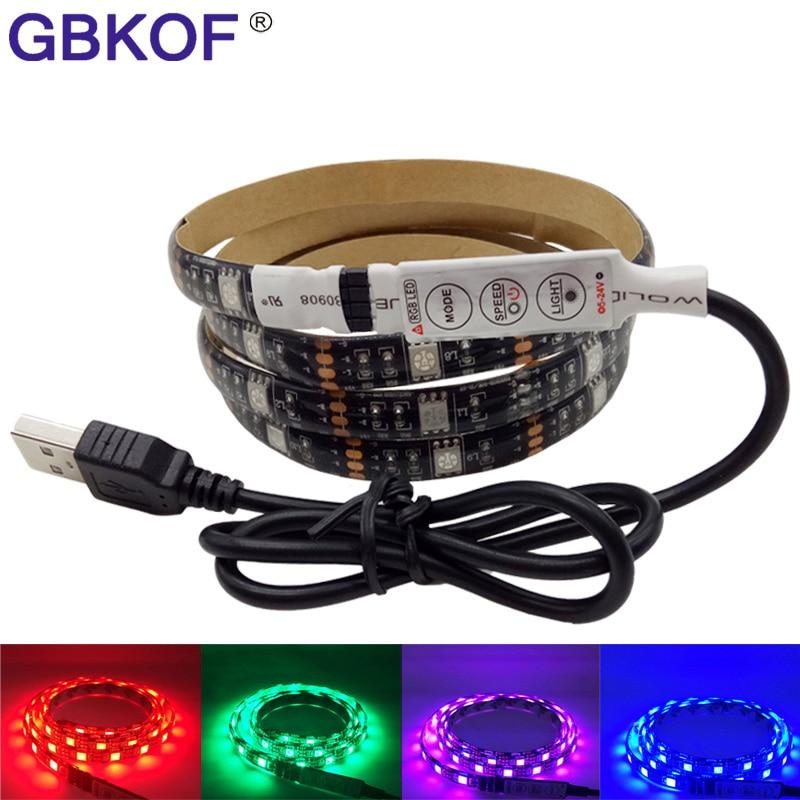 0,5 м 1 м 2 м 5 В USB RGB Светодиодные ленты свет светодиодный ленты 5050 украшения ЖК-дисплей Подсветка ТВ фон освещение Водонепроницаемый светильн...