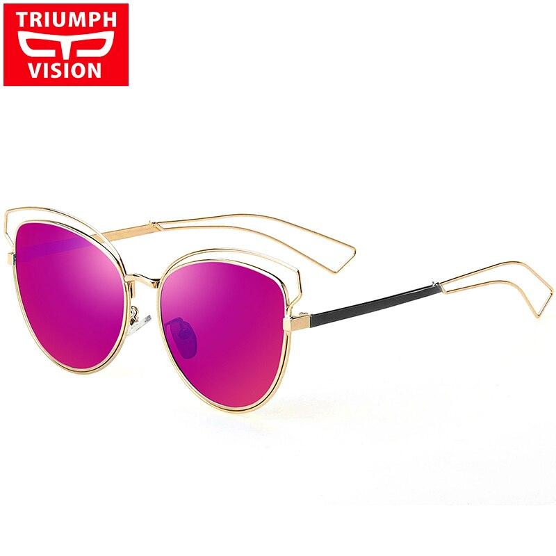 TRIUMPH VISION Luxusní kočičí brýle pro oči dámské fialové červené zrcadlo sluneční brýle pro ženy Značkové odstíny ženské nové Oculos