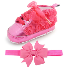 Delebao Baby Kids Toddler Sapato Infant Rose Flower Soft Sole Girl First Walker Handmade Baby Designers Shoes Style Wholesale