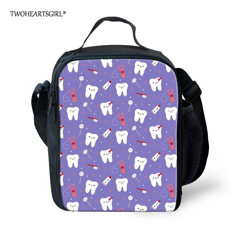 Bolsas de Comida Twoheartsgirl Roxo Dental Impressão Tote Meninas Adolescentes Lunchbag Térmica Duplas Lunch Bolsa For Kids Portátil Piquenique