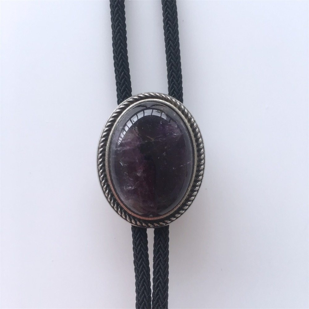 New Vintage Nature Brazil Amethyst Stone Bolo Tie Wedding Leather Necklace Each One Is Unique Free Shipping BOLOTIE-049