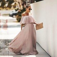 Fashion Off Shoulder Long Pleated Dress Women 2019 Autumn Ruffle Solid Maxi Elegant Party Vestidos