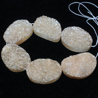 Mini. Order is $7!22x30mm druzy druse Natural Light Yellow Agates Onyx Flat Egg Oval DIY Fa store Spacer Loose Beads 6pcs